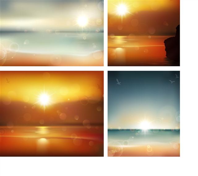 海上日出日落背景图片