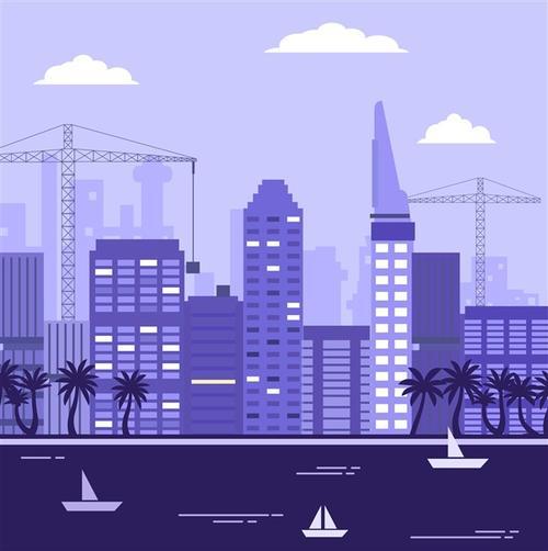 城市景观矢量背景