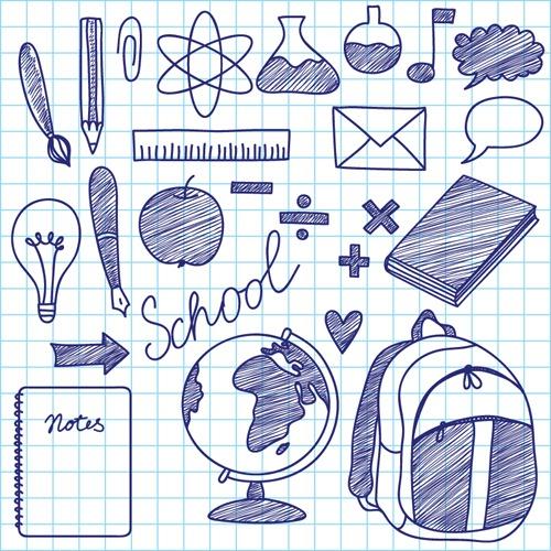 学习用品涂鸦元素