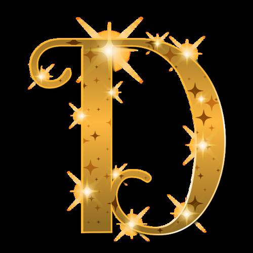 金色光泽圣诞节字母D