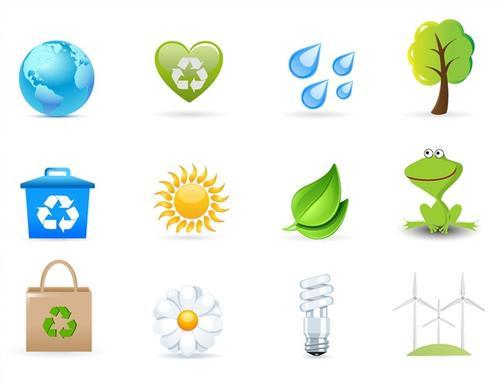 卡通环保图标logo