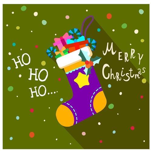 圣诞袜子插画节日贺卡图片