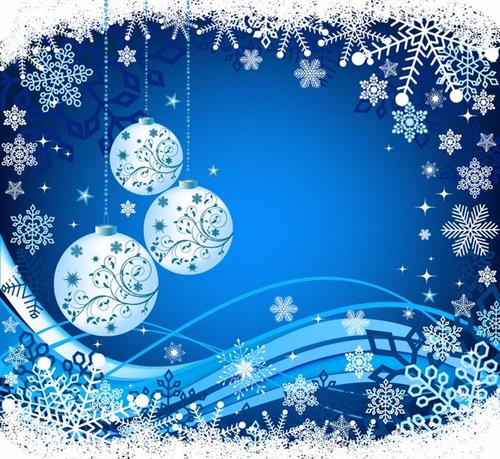 蓝色圣诞节雪花吊球背景图片