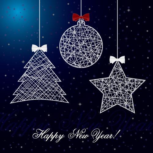 蓝色圣诞树饰品背景