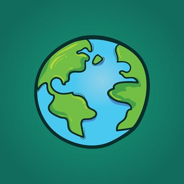 手绘绿色地球图片