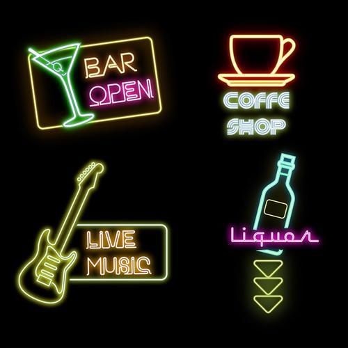 酒吧咖啡厅矢量图标