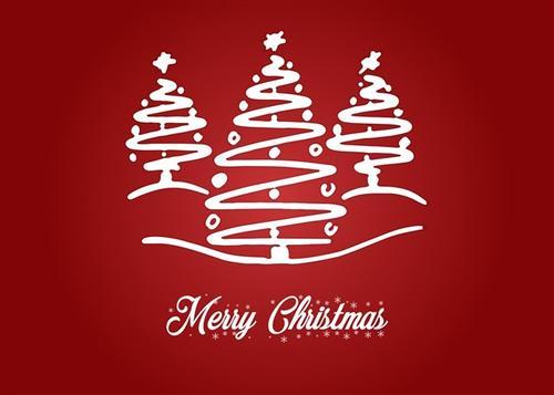 圣诞节雪花圣诞树卡片背景