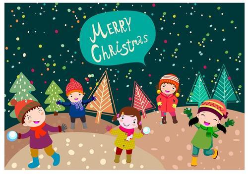 圣诞节打雪仗卡通图片