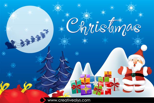 圣诞节圣诞老人手绘插画
