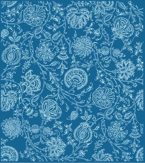 手绘线描花朵树叶底纹背景