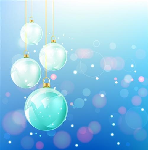 圣诞节闪闪发亮吊球插画