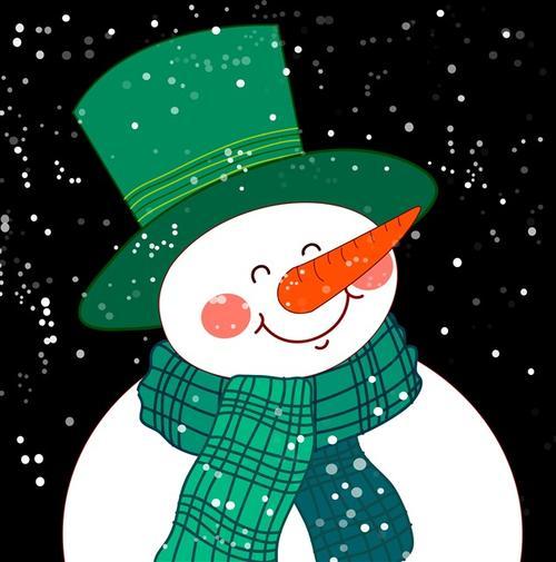 圣诞节可爱雪人手绘插画