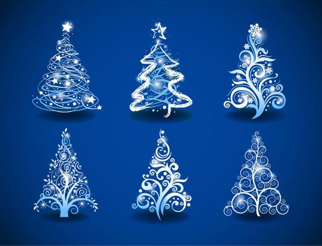 天蓝色圣诞树背景
