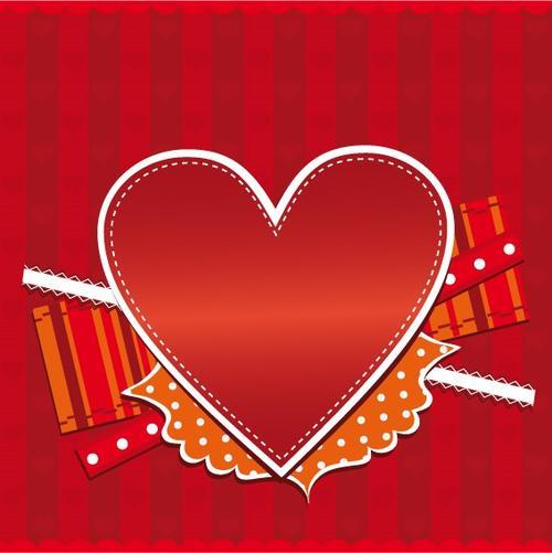 情人节爱心丝带红色背景