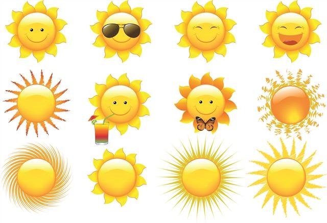 暖黄色太阳表情图标