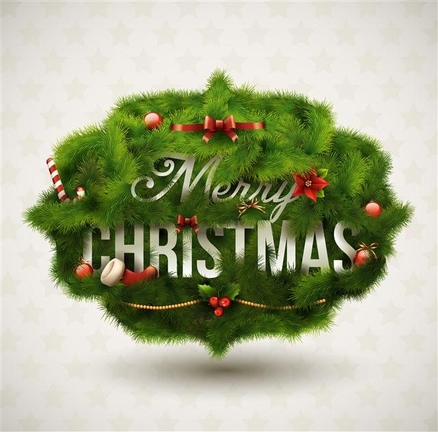 圣诞绿松针背景免抠图片