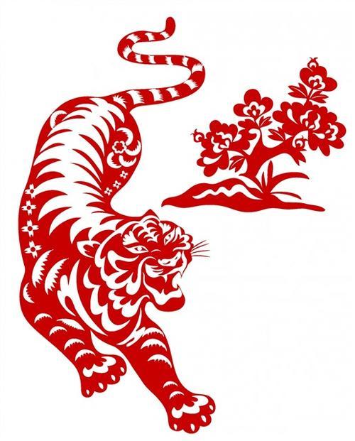 老虎剪纸装饰画