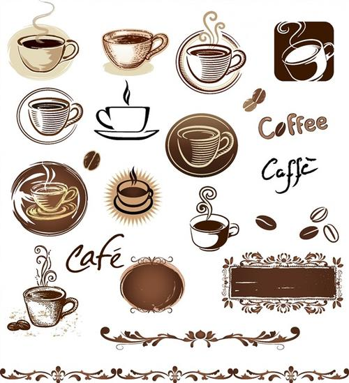 手绘咖啡元素矢量图标设计