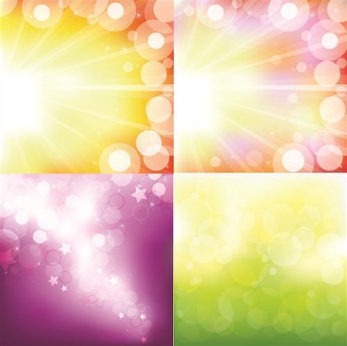 明亮多彩星光光晕矢量背景