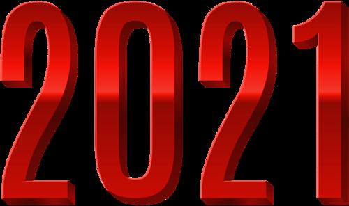红色2021数字字体设计