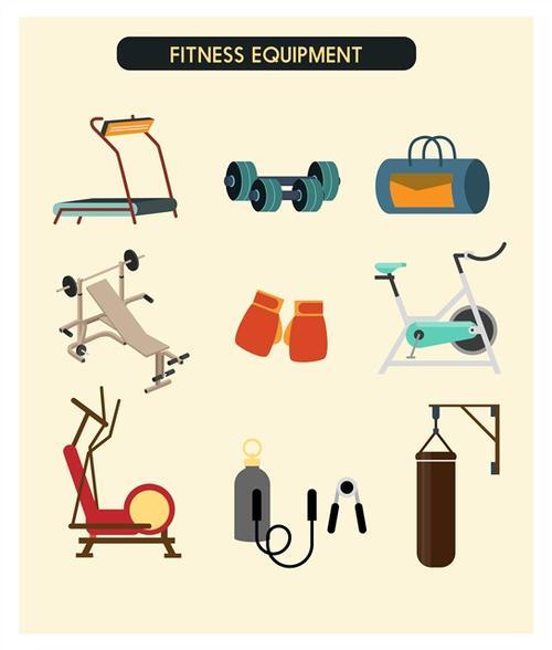 健身房器材卡通图标