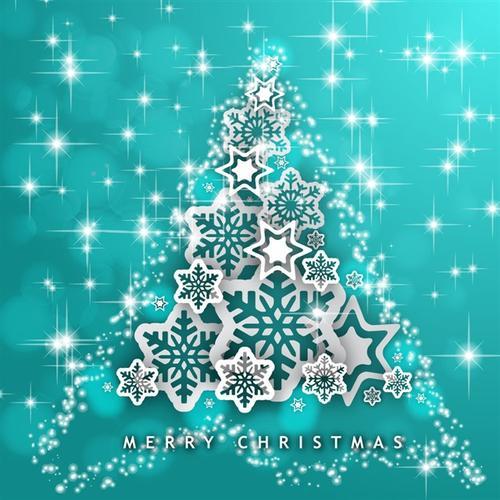 雪花闪烁圣诞树背景