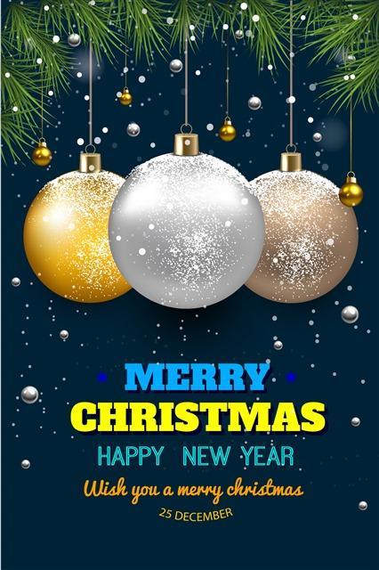 金色圣诞球装饰高清图片