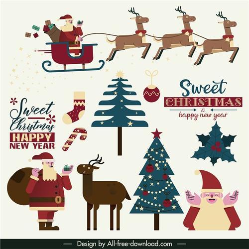 圣诞节卡通驯鹿插画
