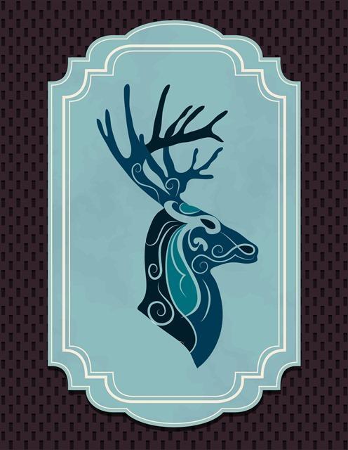 创意圣诞节麋鹿剪影边框