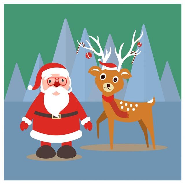 卡通圣诞老人与驯鹿插画