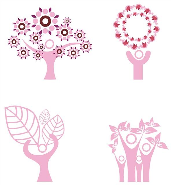 人物植物剪影图片