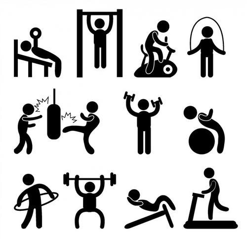 健身运动人物剪影