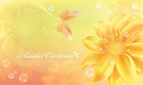 黄色花朵蝴蝶PPT背景