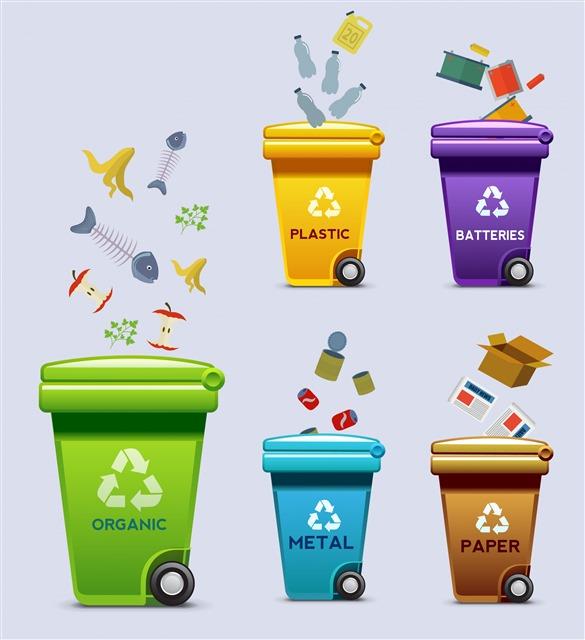 垃圾分类垃圾桶标识图标图片