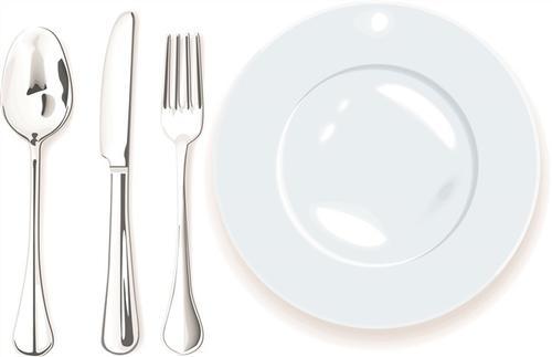 餐盘和餐具矢量图