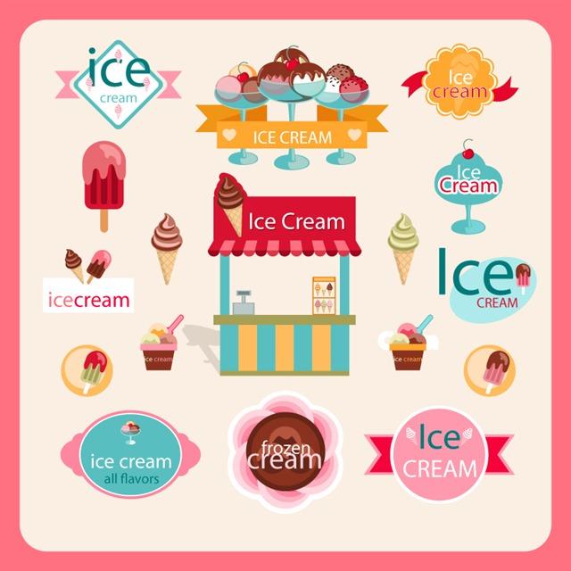 冰激凌店铺创意logo