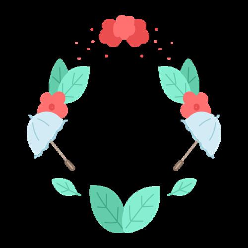 手绘花伞边框装饰图片