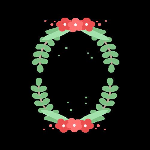 手绘绿色花卉边框图片