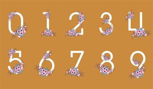 鲜花主题数字艺术字