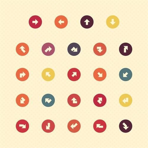 多种彩色圆形箭头图标