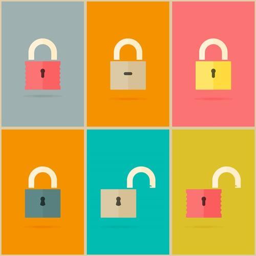 6款彩色安全锁卡通图标