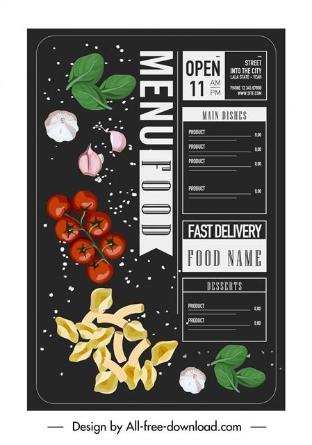 饭店餐厅菜单宣传单页