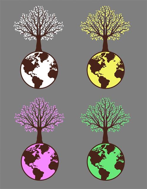 生态地球图案手绘插画