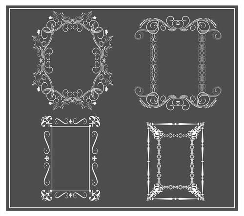 黑白欧式花纹装饰边框
