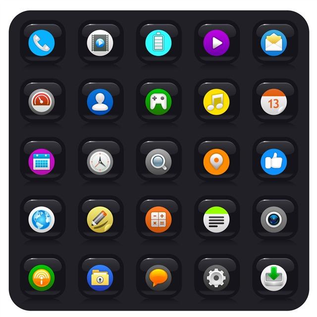 黑色简约手机应用图标