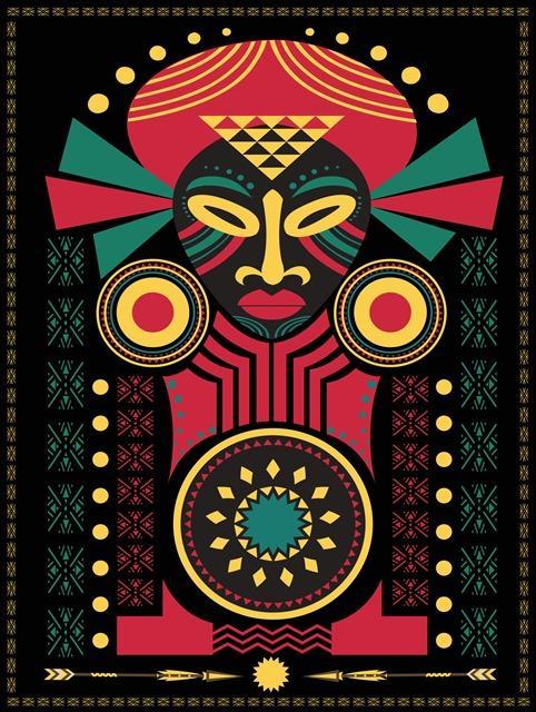 矢量非洲符号插图