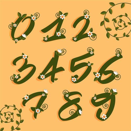 花卉元素数字艺术字