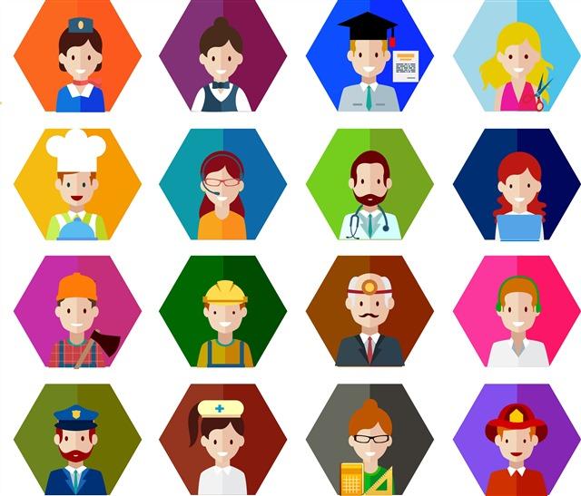 彩色卡通职业人物图标