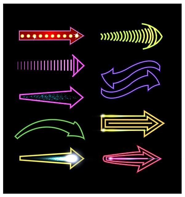 霓虹灯发光箭头图