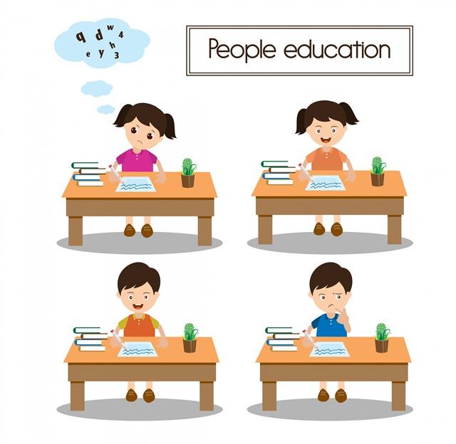 学生学习矢量人物卡通图片